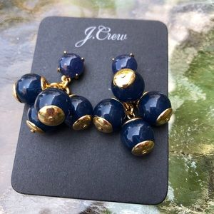 Cluster Collection Navy Gold Tone Earrings